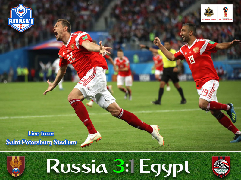 Russia stun Egypt to all but qualify for the round of 16