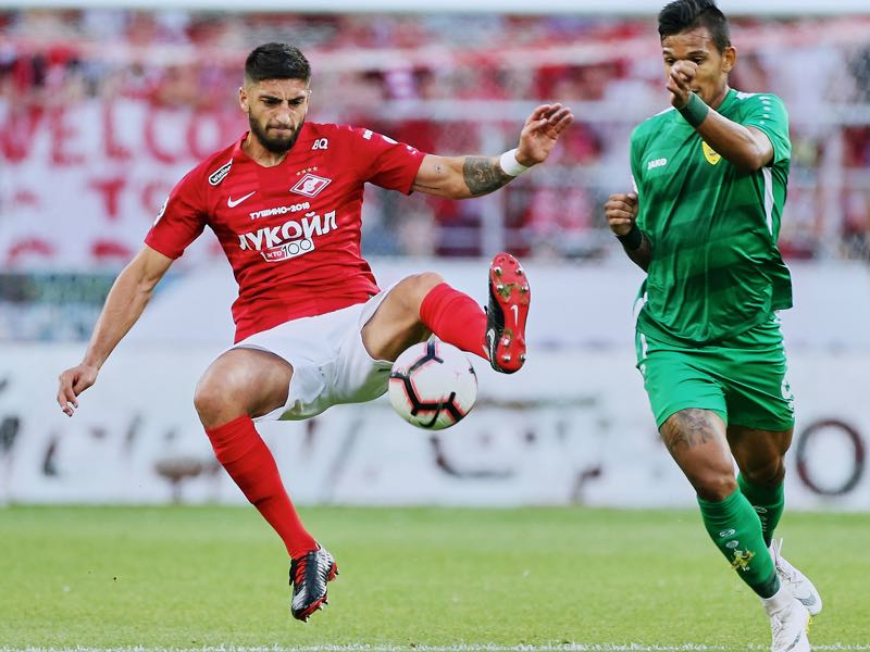 Spartak's defender Samuel Gigot here in action in the Russian Premier Liga (Photo by Epsilon/Getty Images)