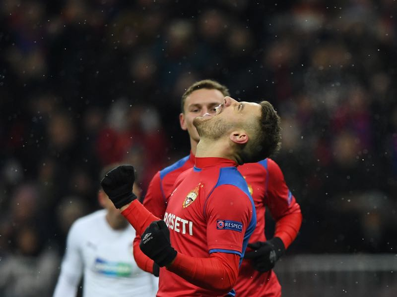 CSKA Moscow v Plzen - CSKA Moscow's Croatian midfielder Nikola Vlasic celebrates after scoring a goal from the penalty spot during the UEFA Champions League group G football match between PFC CSKA Moscow and FC Viktoria Plzen at the Luzhniki stadium in Moscow on November 27, 2018. (Photo by Kirill KUDRYAVTSEV / AFP)