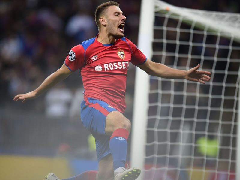 Nikola Vlasic of PFC CSKA Moscow celebrates after scoring a goal during the Group G match of the UEFA Champions League between CSKA Moscow and Real Madrid at the Luzhniki Stadium on October 02, 2018 in Moscow, Russia. (Photo by Epsilon/Getty Images)