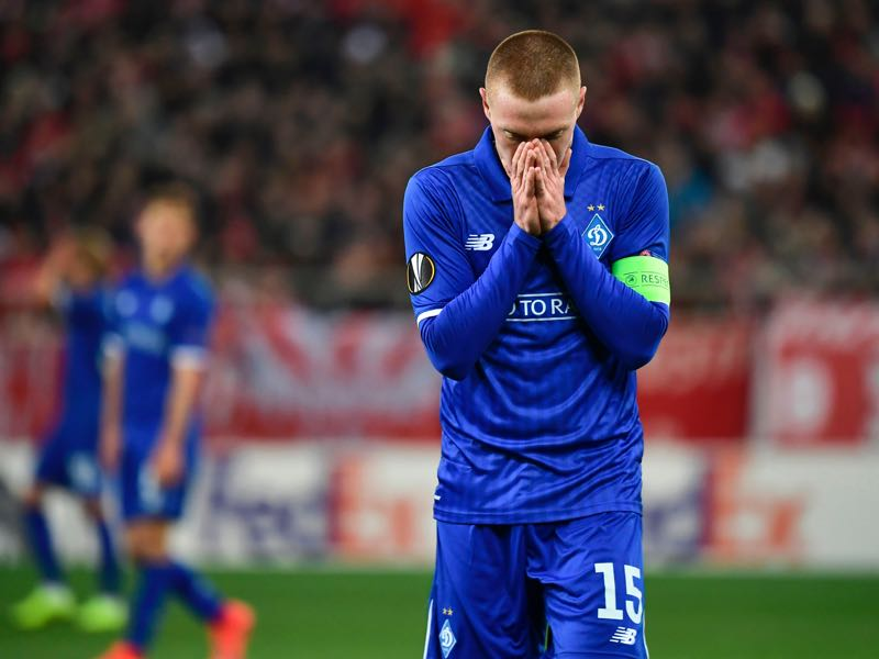 Dynamo's Viktor Tsygankov reacts during the UEFA Europa League round of 32 first leg football match between Olympiacos FC and FC Dynamo Kyiv at the Georgios Karaiskakis stadium in Piraeus near Athens on February 14, 2019. (Photo by ARIS MESSINIS / AFP)