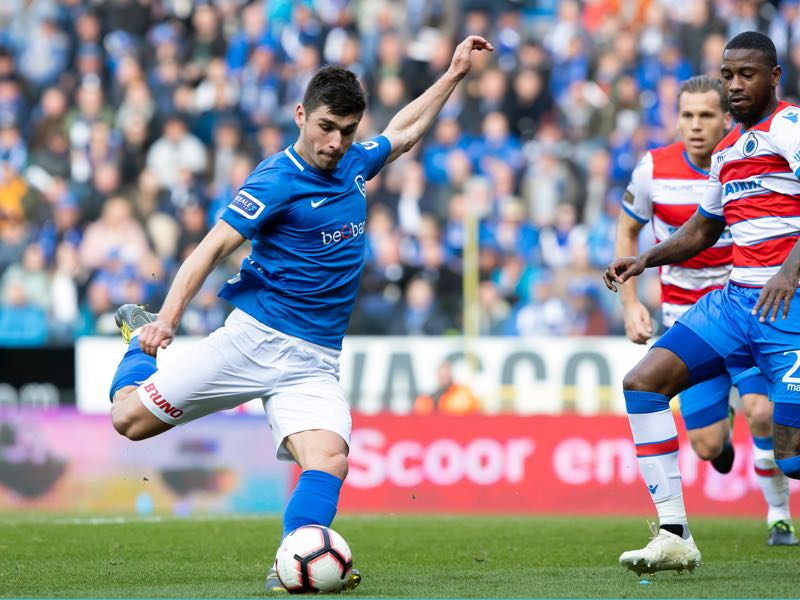 Genk's Ruslan Malinovskyi pictured in action during a soccer match between RC Genk and Club Brugge, Sunday 14 April 2019 in Genk, on day 4 (out of 10) of the Play-off 1 of the 'Jupiler Pro League' Belgian soccer championship. (KRISTOF VAN ACCOM/AFP/Getty Images)