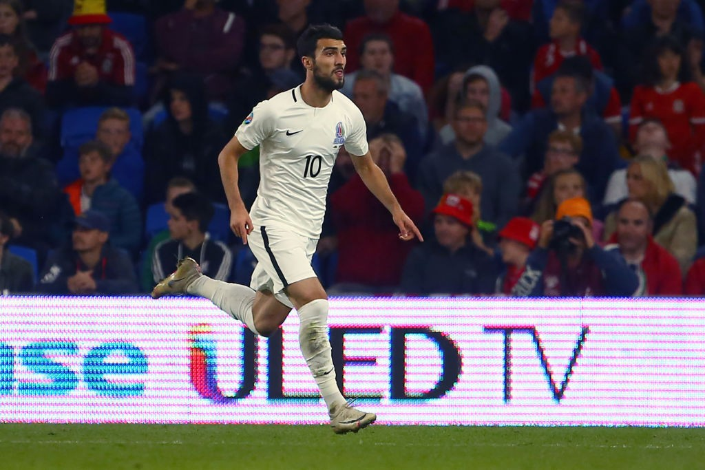 Azerbaijan's forward Mahir Emreli celebrates after scoring the equalising goal during the UEFA Euro 2020 Qualifying - 1st round Group E football match between Wales and Azerbaijan at Cardiff City Stadium, Cardiff on September 6, 2019. (Photo by GEOFF CADDICK / AFP) (Photo credit should read GEOFF CADDICK/AFP/Getty Images)