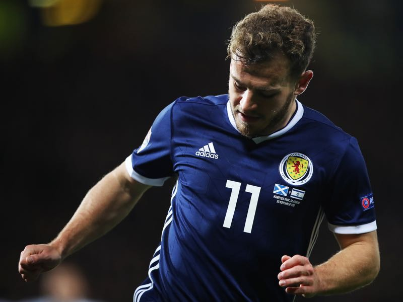 Ryan Fraser of Scotland runs with the ball during the UEFA Nations League C group one match between Scotland and Israel at Hampden Park on November 20, 2018 in Glasgow, United Kingdom. (Photo by Ian MacNicol/Getty Images)