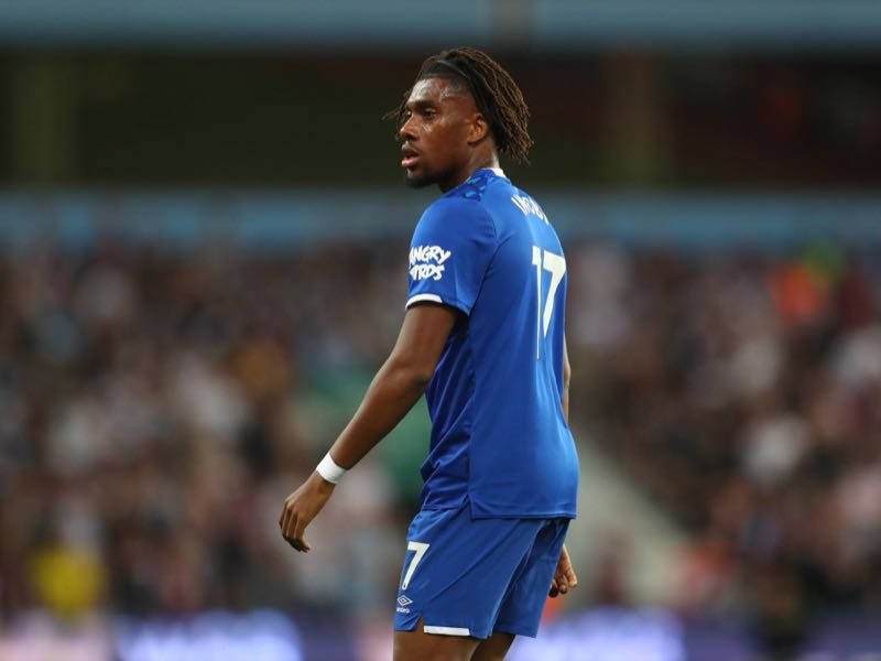 Alex Iwobi of Everton during the Premier League match between Aston Villa and Everton FC at Villa Park on August 23, 2019 in Birmingham, United Kingdom. (Photo by Catherine Ivill/Getty Images)