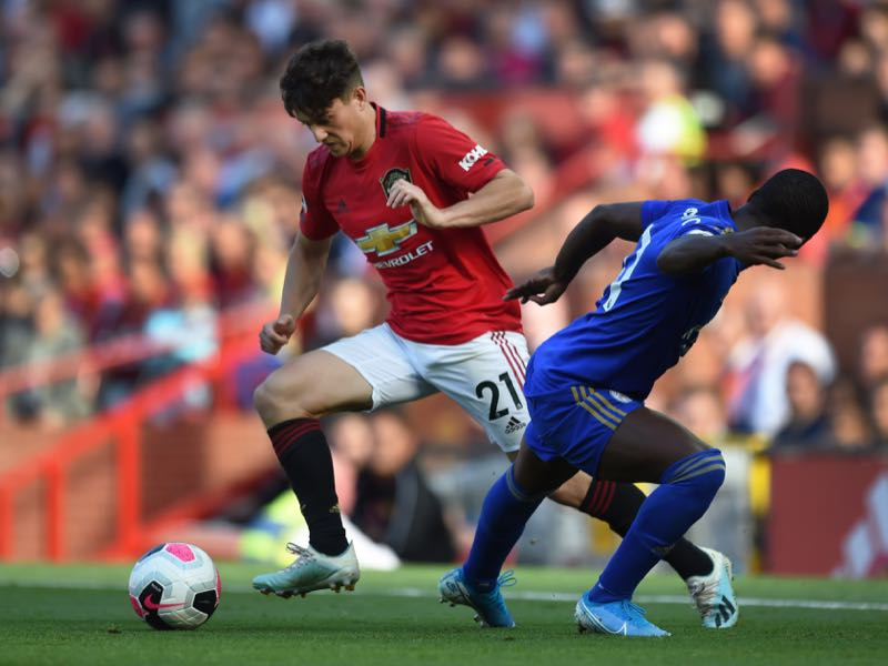 Daniel James of Manchester United skips past Ricardo Pereira of Leicester City during the Premier League match between Manchester United and Leicester City at Old Trafford on September 14, 2019 in Manchester, United Kingdom. (Photo by Gary Prior/Getty Images)