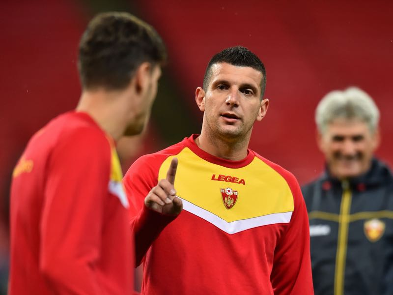 Montenegro's forward Fatos Beciraj attends a training centre at Wembley Stadium, London on November 13, 2019 on the eve of their Euro 2020 football qualification match against England. (Photo by Glyn KIRK / AFP)