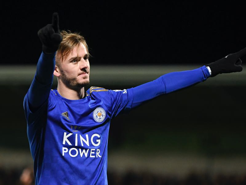 James Maddison of Leicester City celebrates after scoring his team's third goal during the Carabao Cup Round of 16 match between Burton Albion and Leicester City at Pirelli Stadium on October 29, 2019 in Burton-upon-Trent, England. (Photo by Michael Regan/Getty Images)