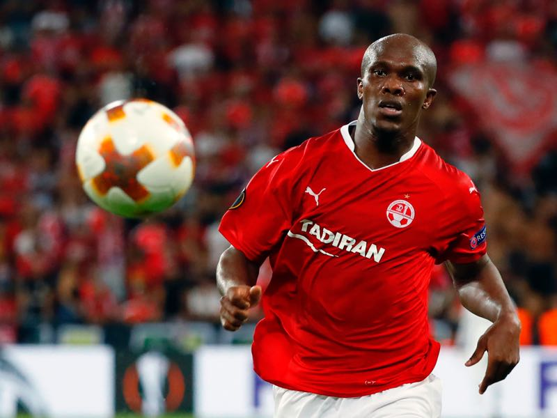 Anthony Nwakaeme eyes the ball during the UEFA Europa League football match between Hapoel Beer-Sheva FC and FC Lugano on September 14, 2017 at the Turner Stadium in the Israeli southern city of Beer-Sheva. (JACK GUEZ/AFP via Getty Images)