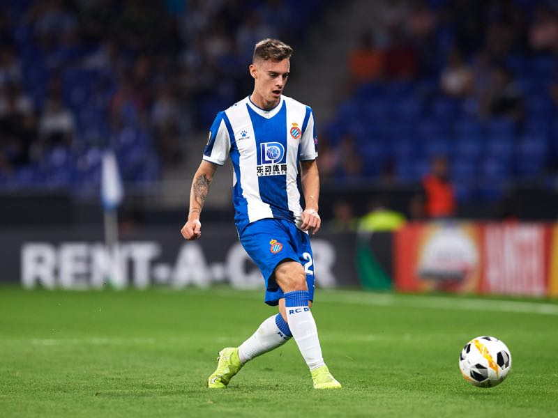 Pol Lozano of RCD Espanyol plays the ball during the UEFA Europa League group H match between Espanyol Barcelona and Ferencvarosi TC at Power8 Stadium on September 19, 2019 in Barcelona, Spain. (Photo by Alex Caparros/Getty Images)