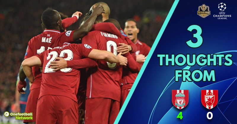 'Fabinho arrives' and 'Gomez, sensational' – Three thoughts as Liverpool dispatch Crvena Zvezda with ease