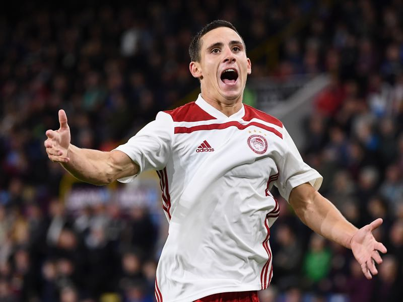 Daniel Podence of Olympiakos celebrates after scoring during the UEFA Europa League qualifing second leg play off match between Burnley and Olympiakos at Turf Moor on August 30, 2018 in Burnley, England. (Photo by Clive Mason/Getty Images)