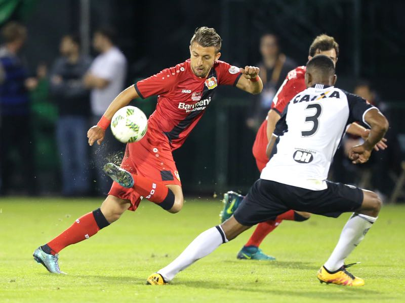 Vladlen Yurchenko #35 of Bayer Leverkusen dribbles the ball against Jesiel #3 of Atletico Mineiro at ESPN Wide World of Sports Complex on January 11, 2017 in Kissimmee, Florida. (Photo by Alex Menendez/Bongarts/Getty Images)