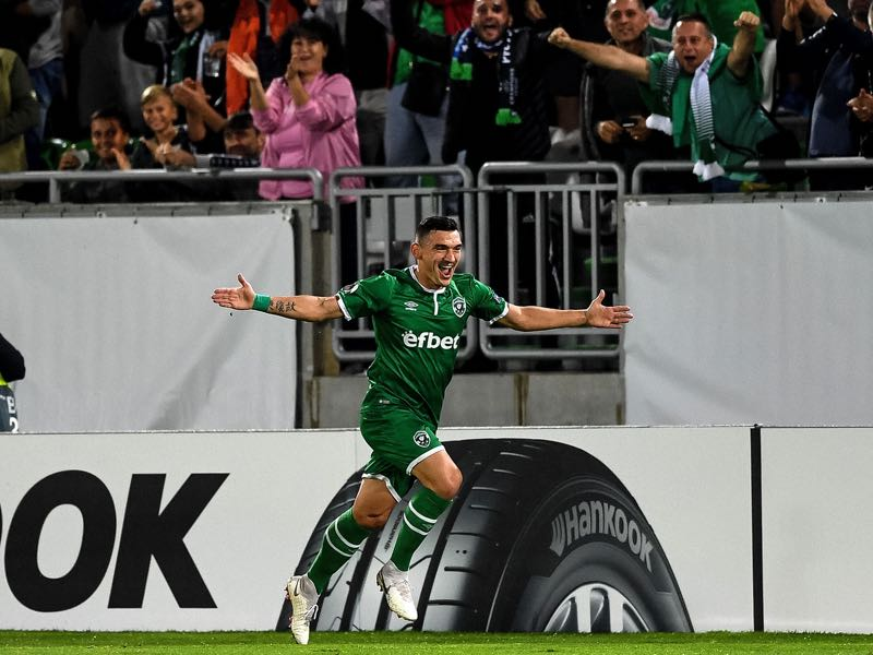 Ludogorets' Romania's forward Claudiu Keseru celebrates after scoring a goal during the UEFA Europa League Group A football match between Ludogorets Razgrad and Bayer Leverkusen at Ludogorets Arena in Razgrad on September 20, 2018. (Photo by Dimitar DILKOFF / AFP)