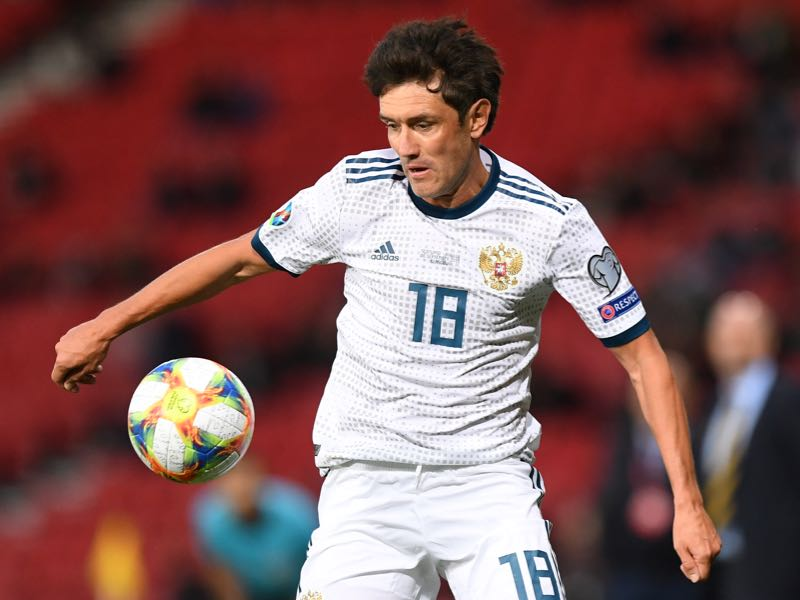 Russia's midfielder Yury Zhirkov controls the ball during the UEFA Euro 2020 Qualifying - 1st round Group I football match between Scotland and Russia at Hampden Park, Glasgow on September 6, 2019. (Photo by ANDY BUCHANAN / AFP)