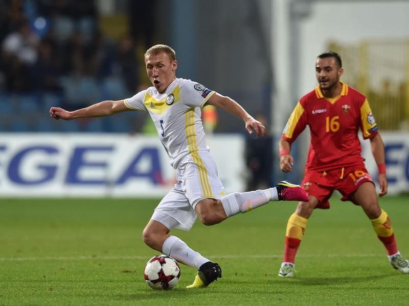 Islambek Kuat of Kazakhstan in action during the FIFA 2018 World Cup Qualifier between Montenegro and Kazakhstan at Podgorica City Stadium on October 8, 2016 in Podgorica, Montenegro, (Photo by Giuseppe Bellini/Getty Images)