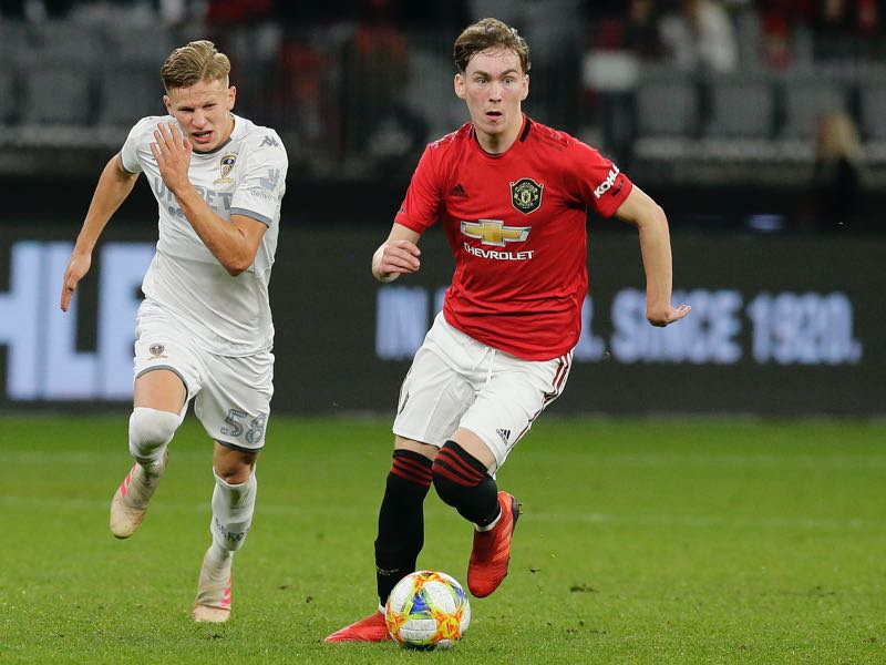 James Garner of Manchester United controls the ball during a pre-season friendly match between Manchester United and Leeds United at Optus Stadium on July 17, 2019 in Perth, Australia. (Photo by Will Russell/Getty Images)