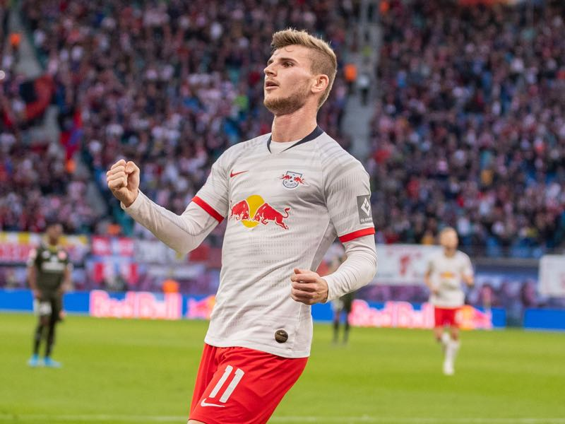 Timo Werner of RB Leipzig celebrates after scoring his team's second goal during the Bundesliga match between RB Leipzig and 1. FSV Mainz 05 at Red Bull Arena on November 02, 2019 in Leipzig, Germany. (Photo by Boris Streubel/Bongarts/Getty Images)