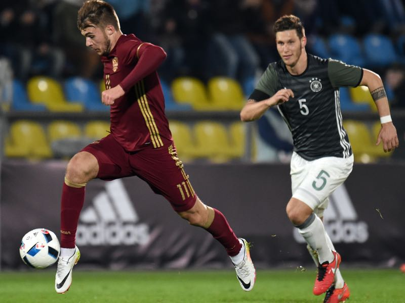 Nikolai Komlichenko (L) of Russia U21 challenged by Niklas Sule of Germany U21 during the 2017 UEFA European U21 Championships qualifier match between Russia U21 and Germany U21 at Olimp 2 Stadium on March 29, 2016 in Rostov-on-Don, Russia. (Photo by Bongarts/Getty Images)
